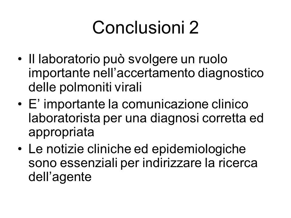 Conclusioni 2 Il laboratorio può svolgere un ruolo importante nellaccertamento diagnostico delle polmoniti virali E importante la comunicazione clinic
