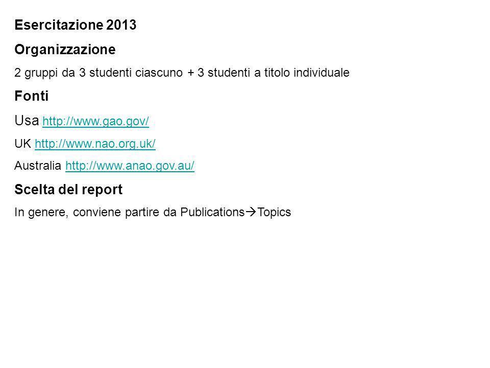 Esercitazione 2013 Organizzazione 2 gruppi da 3 studenti ciascuno + 3 studenti a titolo individuale Fonti Usa http://www.gao.gov/ http://www.gao.gov/ UK http://www.nao.org.uk/http://www.nao.org.uk/ Australia http://www.anao.gov.au/http://www.anao.gov.au/ Scelta del report In genere, conviene partire da Publications Topics