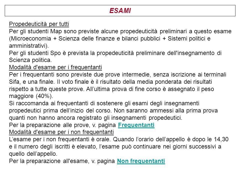 ESAMI Propedeuticità per tutti Per gli studenti Map sono previste alcune propedeuticità preliminari a questo esame (Microeconomia + Scienza delle fina