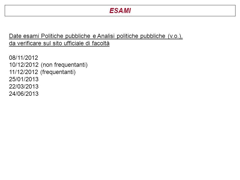 ESAMI Date esami Politiche pubbliche e Analisi politiche pubbliche (v.o.), da verificare sul sito ufficiale di facoltà 08/11/2012 10/12/2012 (non freq