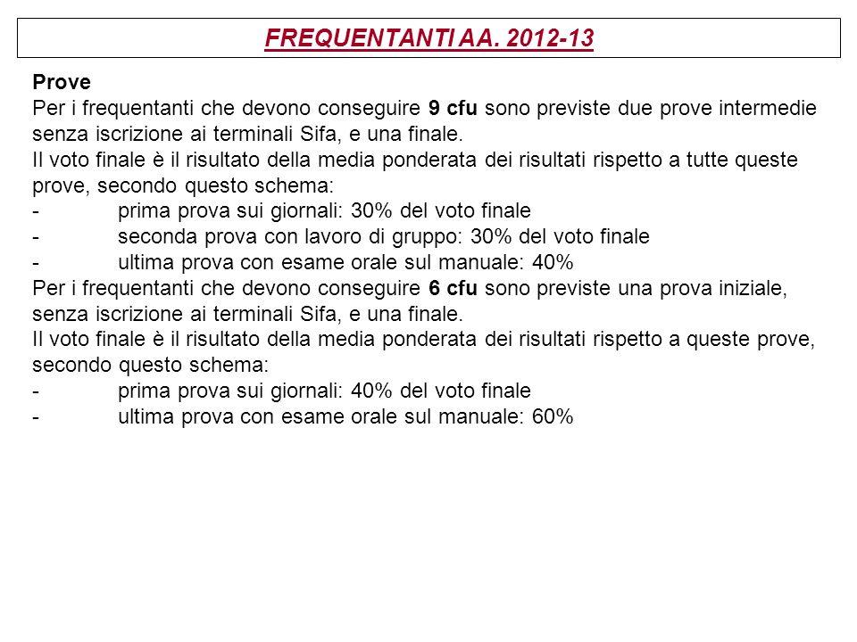 FREQUENTANTI AA. 2012-13 Prove Per i frequentanti che devono conseguire 9 cfu sono previste due prove intermedie senza iscrizione ai terminali Sifa, e