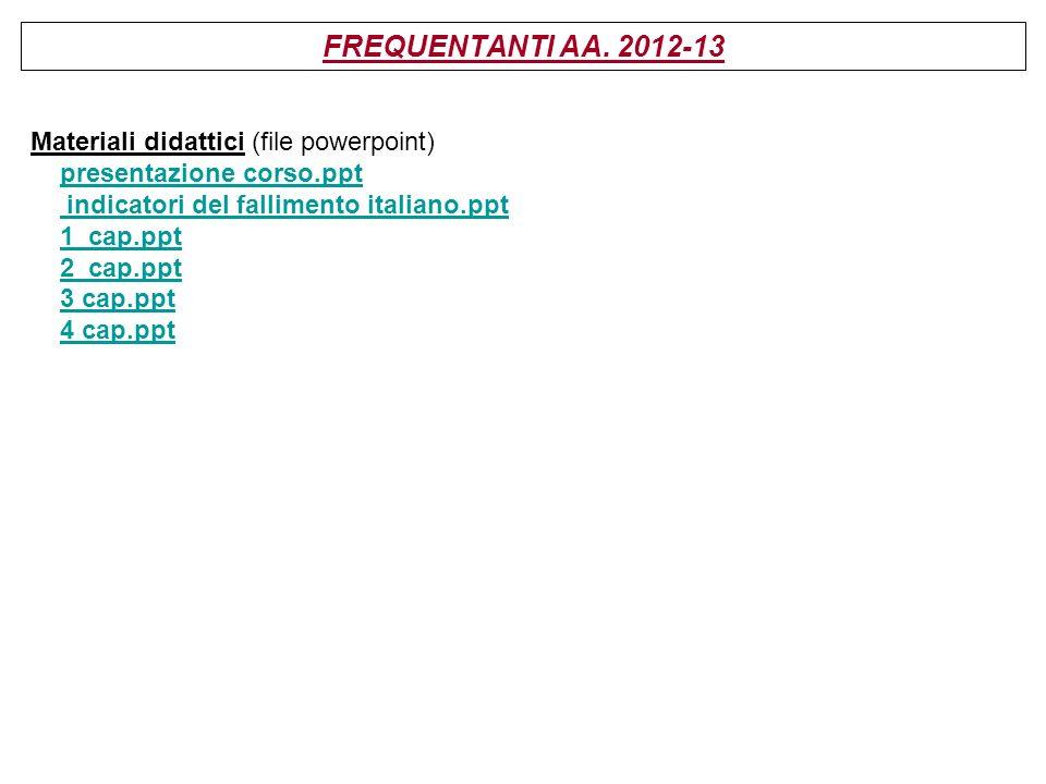 FREQUENTANTI AA. 2012-13 Materiali didattici (file powerpoint) presentazione corso.ppt indicatori del fallimento italiano.ppt 1_cap.ppt 2_cap.ppt 3 ca