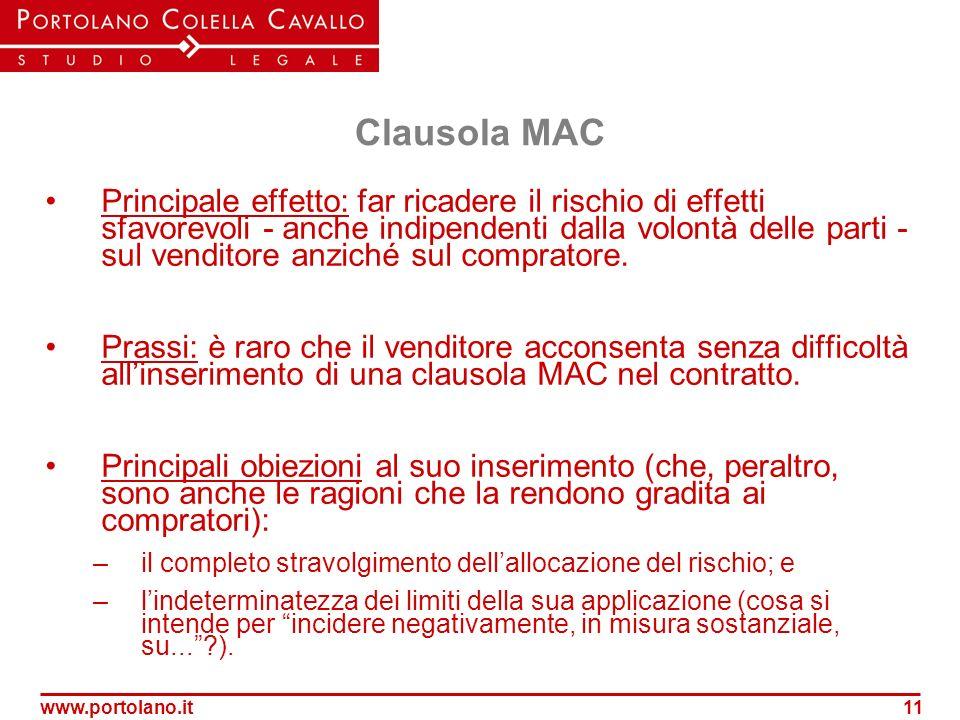 www.portolano.it11 Clausola MAC Principale effetto: far ricadere il rischio di effetti sfavorevoli - anche indipendenti dalla volontà delle parti - su