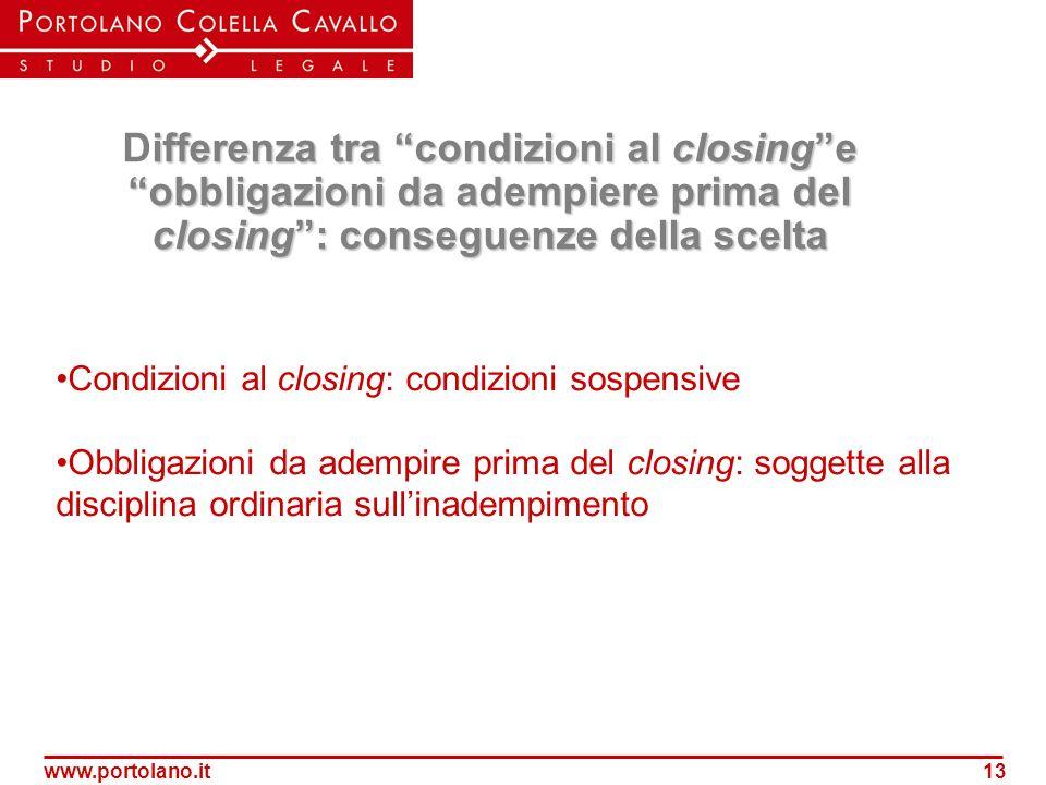 www.portolano.it13 ifferenza tra condizioni al closinge obbligazioni da adempiere prima del closing: conseguenze della scelta Differenza tra condizion