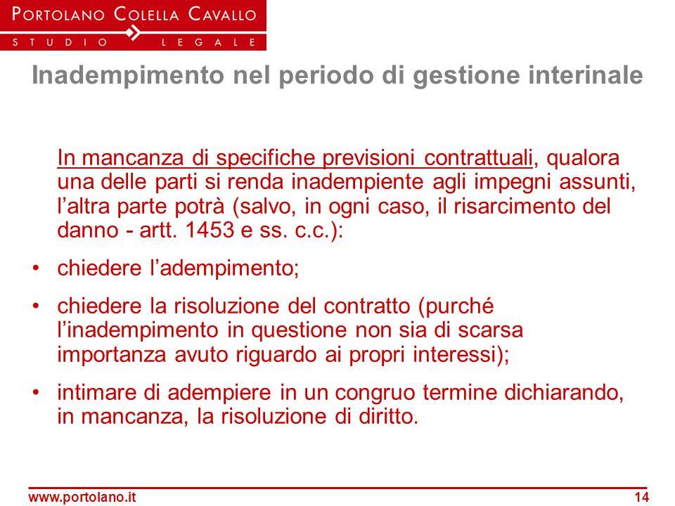www.portolano.it14 Inadempimento nel periodo di gestione interinale In mancanza di specifiche previsioni contrattuali, qualora una delle parti si rend