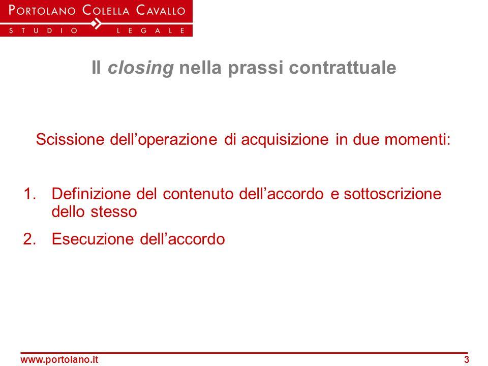 www.portolano.it3 Il closing nella prassi contrattuale Scissione delloperazione di acquisizione in due momenti: 1.Definizione del contenuto dellaccord