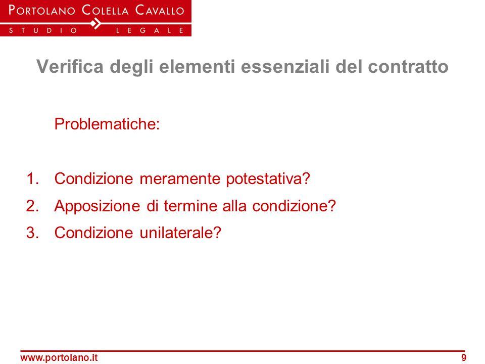 www.portolano.it9 Verifica degli elementi essenziali del contratto Problematiche: 1.Condizione meramente potestativa? 2.Apposizione di termine alla co