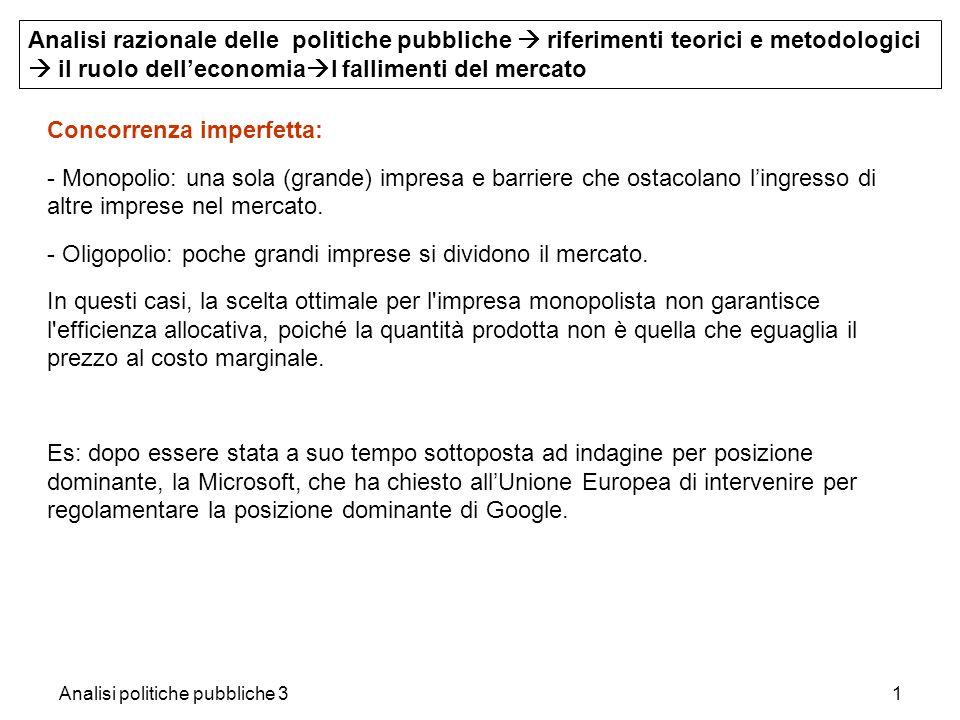 Analisi politiche pubbliche 31 Concorrenza imperfetta: - Monopolio: una sola (grande) impresa e barriere che ostacolano lingresso di altre imprese nel
