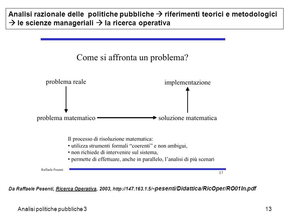 Analisi politiche pubbliche 313 Analisi razionale delle politiche pubbliche riferimenti teorici e metodologici le scienze manageriali la ricerca opera