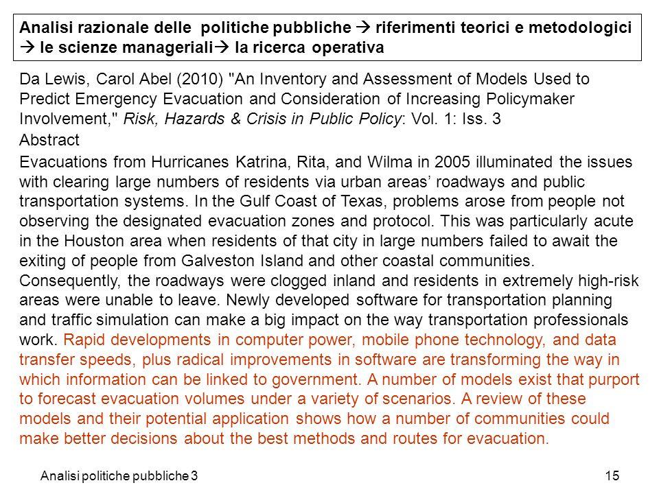 Analisi politiche pubbliche 315 Analisi razionale delle politiche pubbliche riferimenti teorici e metodologici le scienze manageriali la ricerca opera