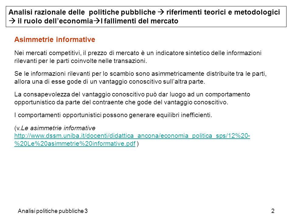 Analisi politiche pubbliche 32 Asimmetrie informative Nei mercati competitivi, il prezzo di mercato è un indicatore sintetico delle informazioni rilev
