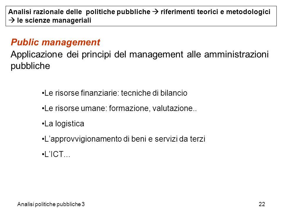 Analisi politiche pubbliche 322 Public management Applicazione dei principi del management alle amministrazioni pubbliche Le risorse finanziarie: tecn