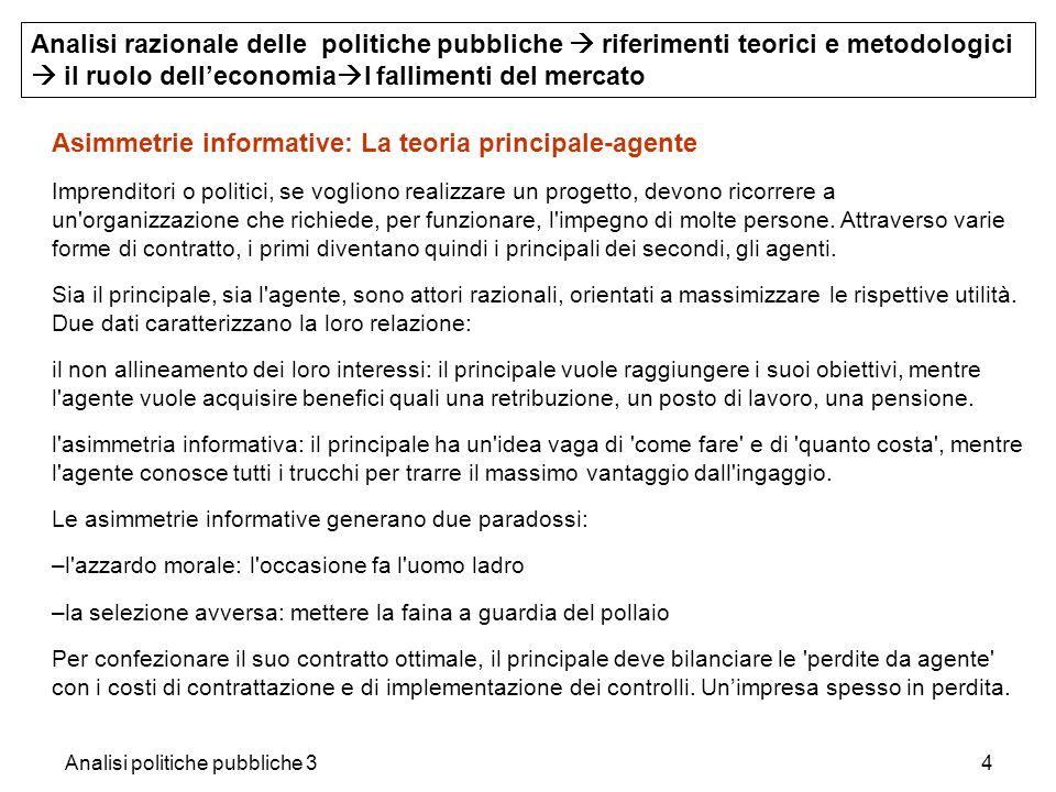 Analisi politiche pubbliche 34 Asimmetrie informative: La teoria principale-agente Imprenditori o politici, se vogliono realizzare un progetto, devono
