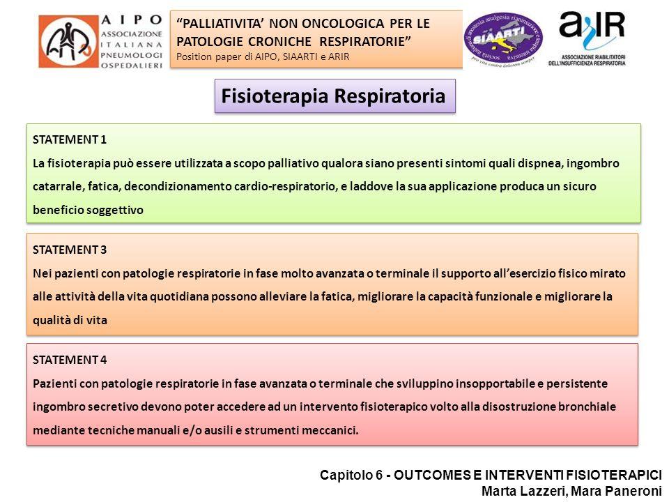 Fisioterapia respiratoria Capitolo 6 - OUTCOMES E INTERVENTI FISIOTERAPICI Marta Lazzeri, Mara Paneroni STATEMENT 1 La fisioterapia può essere utilizz