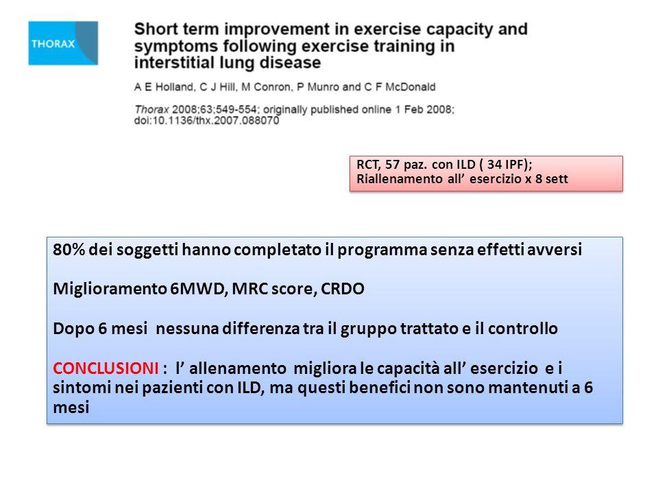 fd RCT, 57 paz. con ILD ( 34 IPF); Riallenamento all esercizio x 8 sett RCT, 57 paz. con ILD ( 34 IPF); Riallenamento all esercizio x 8 sett 80% dei s