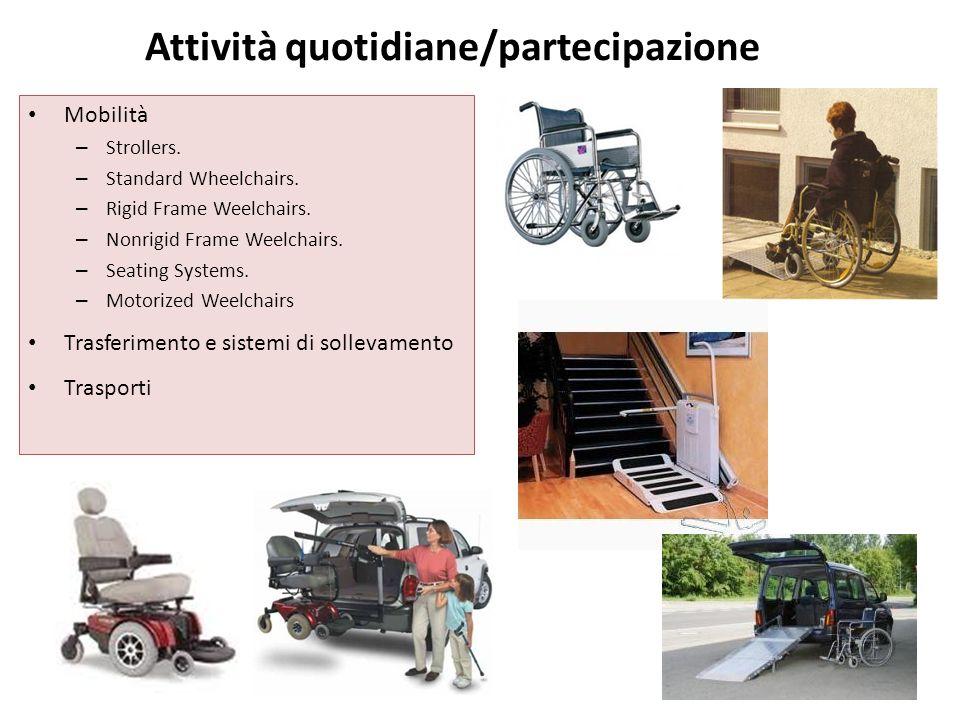 Attività quotidiane/partecipazione Mobilità – Strollers. – Standard Wheelchairs. – Rigid Frame Weelchairs. – Nonrigid Frame Weelchairs. – Seating Syst