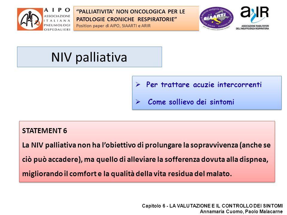 NIV palliativa STATEMENT 6 La NIV palliativa non ha lobiettivo di prolungare la sopravvivenza (anche se ciò può accadere), ma quello di alleviare la s