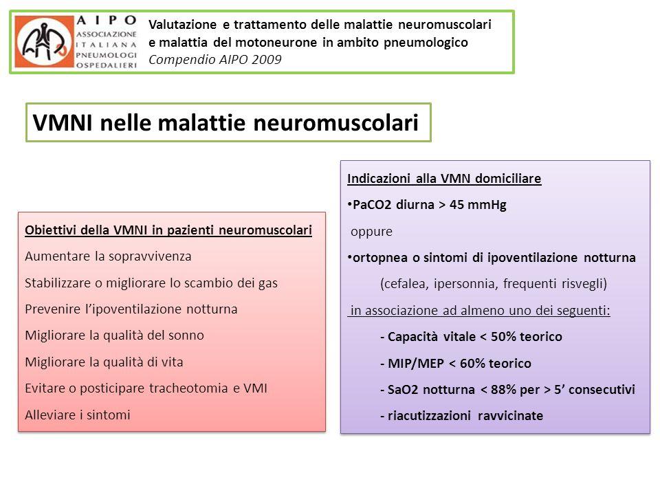 Obiettivi della VMNI in pazienti neuromuscolari Aumentare la sopravvivenza Stabilizzare o migliorare lo scambio dei gas Prevenire lipoventilazione not