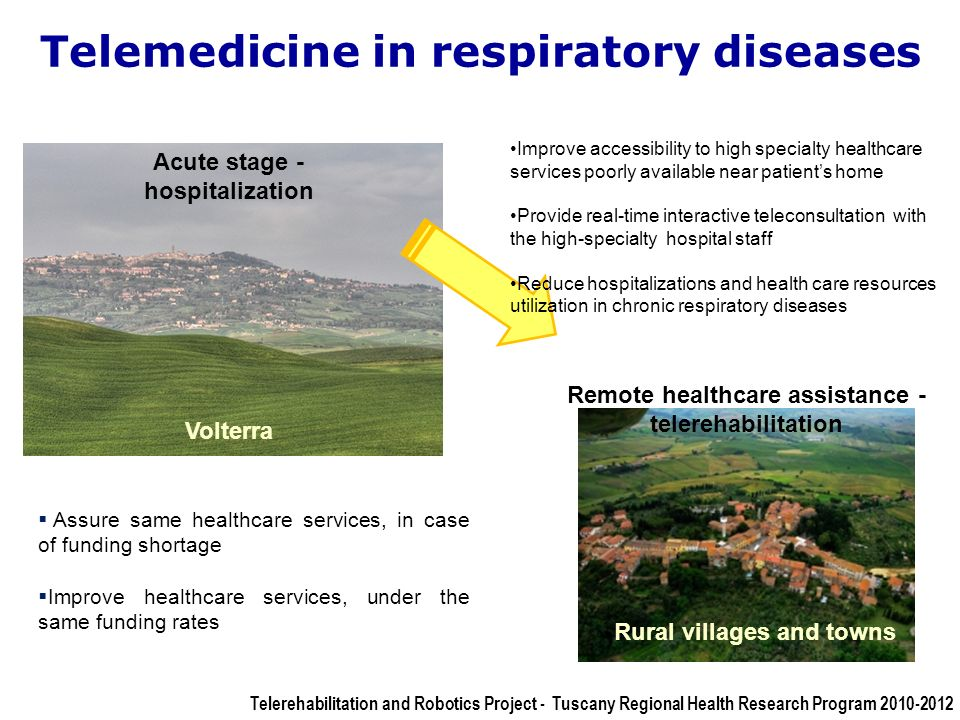 Telemedicine in respiratory diseases Acute stage - hospitalization Volterra Rural villages and towns Remote healthcare assistance - telerehabilitation Assure same healthcare services, in case of funding shortage Improve healthcare services, under the same funding rates Improve accessibility to high specialty healthcare services poorly available near patients home Provide real-time interactive teleconsultation with the high-specialty hospital staff Reduce hospitalizations and health care resources utilization in chronic respiratory diseases Telerehabilitation and Robotics Project - Tuscany Regional Health Research Program 2010-2012