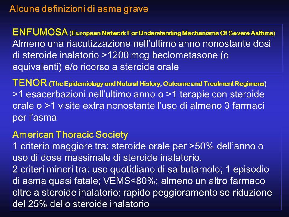 ENFUMOSA (European Network For Understanding Mechanisms Of Severe Asthma) Almeno una riacutizzazione nellultimo anno nonostante dosi di steroide inala