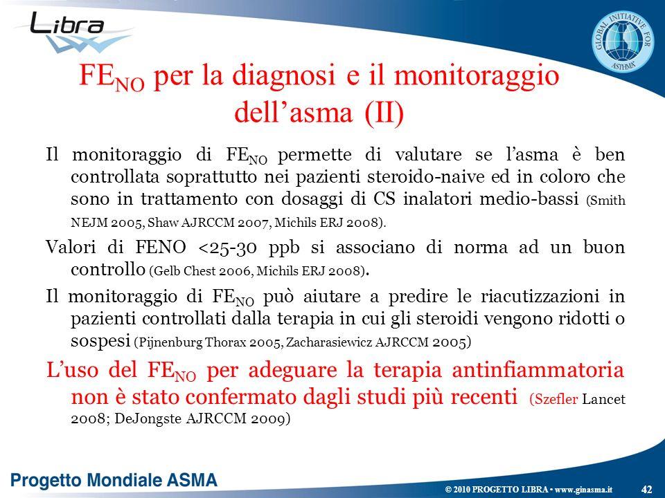 FE NO per la diagnosi e il monitoraggio dellasma (II) Il monitoraggio di FE NO permette di valutare se lasma è ben controllata soprattutto nei pazient