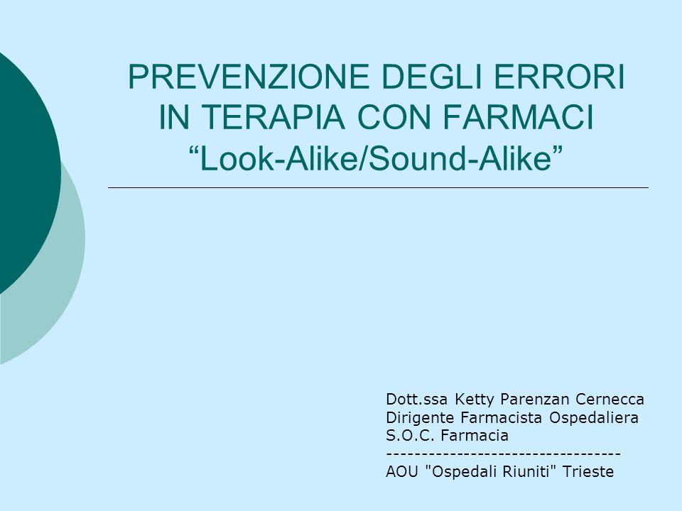 Look-Alike/Sound-Alike o LASA Acronimo utilizzato per indicare quei farmaci che possono essere facilmente scambiati con altri per la somiglianza grafica e/o fonetica del nome e/o per laspetto simile delle confezioni.