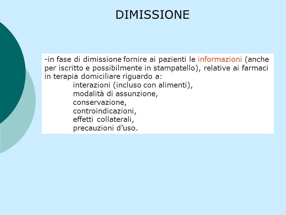 DIMISSIONE -in fase di dimissione fornire ai pazienti le informazioni (anche per iscritto e possibilmente in stampatello), relative ai farmaci in tera