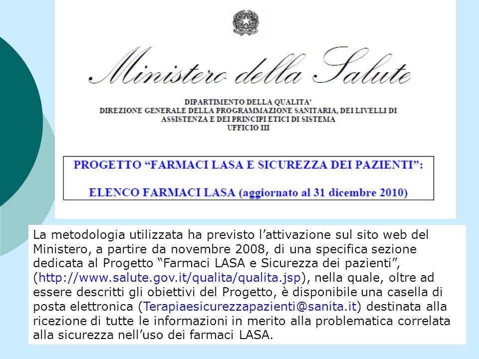 La metodologia utilizzata ha previsto lattivazione sul sito web del Ministero, a partire da novembre 2008, di una specifica sezione dedicata al Proget
