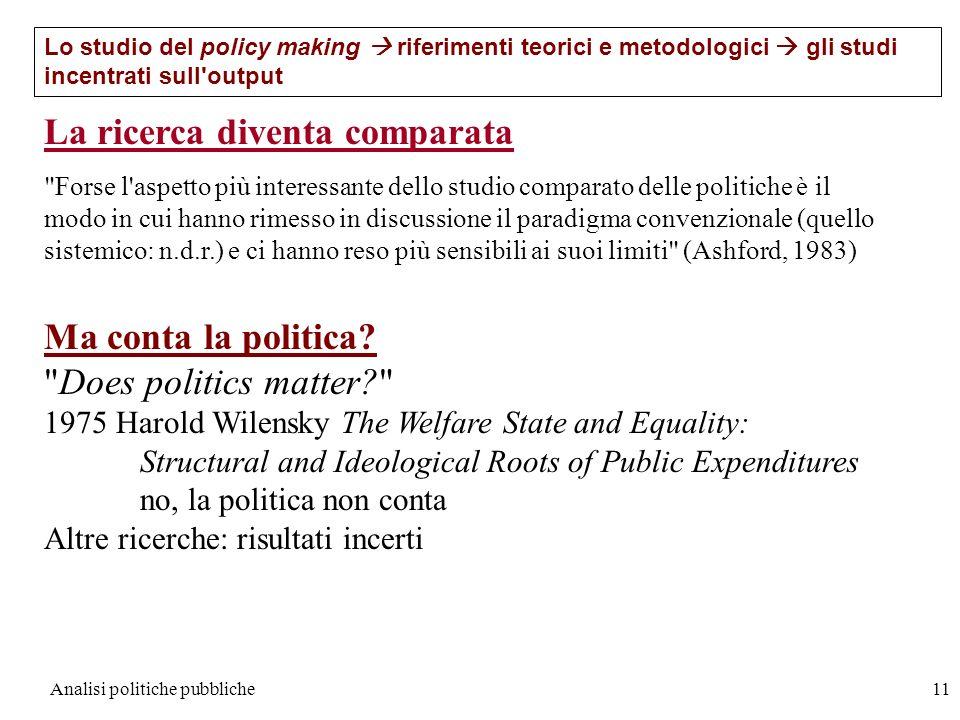 Analisi politiche pubbliche11 Lo studio del policy making riferimenti teorici e metodologici gli studi incentrati sull'output La ricerca diventa compa