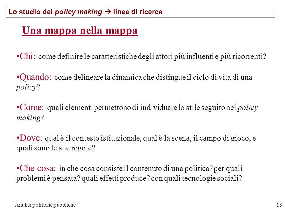 Analisi politiche pubbliche13 Una mappa nella mappa Chi: come definire le caratteristiche degli attori più influenti e più ricorrenti? Quando: come de
