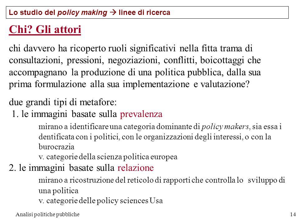 Analisi politiche pubbliche14 Lo studio del policy making linee di ricerca Chi? Gli attori chi davvero ha ricoperto ruoli significativi nella fitta tr