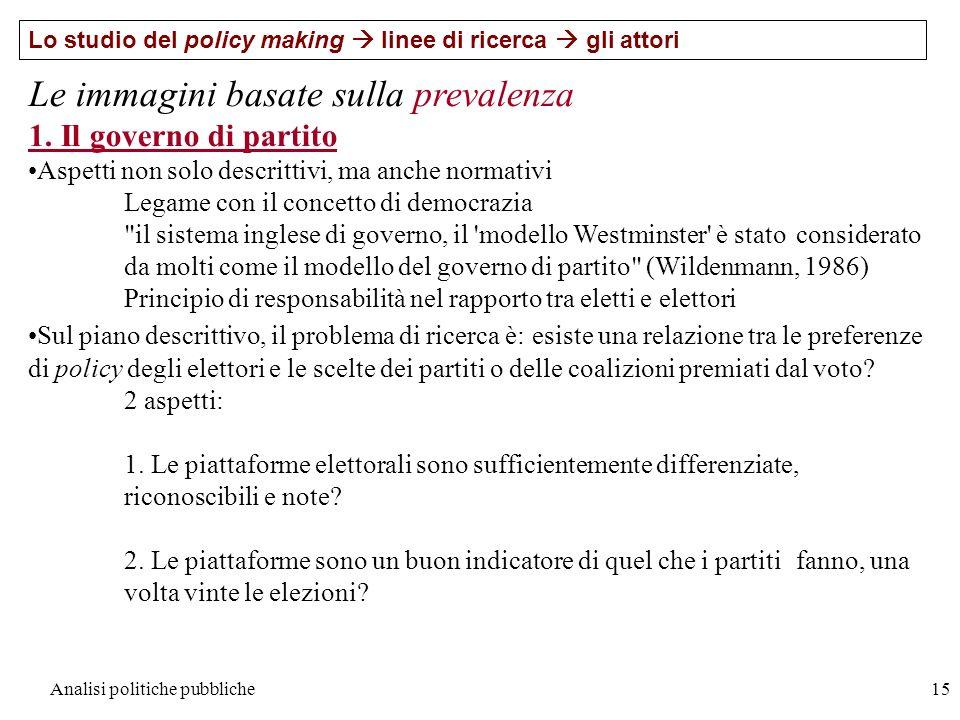 Analisi politiche pubbliche15 Lo studio del policy making linee di ricerca gli attori Le immagini basate sulla prevalenza 1. Il governo di partito Asp
