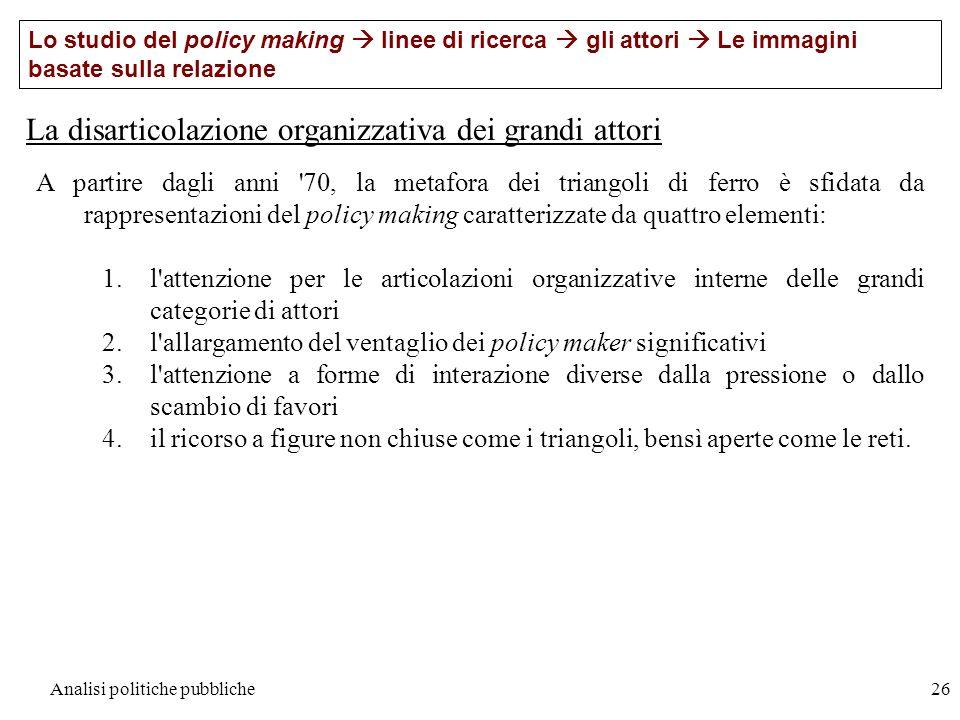 Analisi politiche pubbliche26 La disarticolazione organizzativa dei grandi attori Lo studio del policy making linee di ricerca gli attori Le immagini