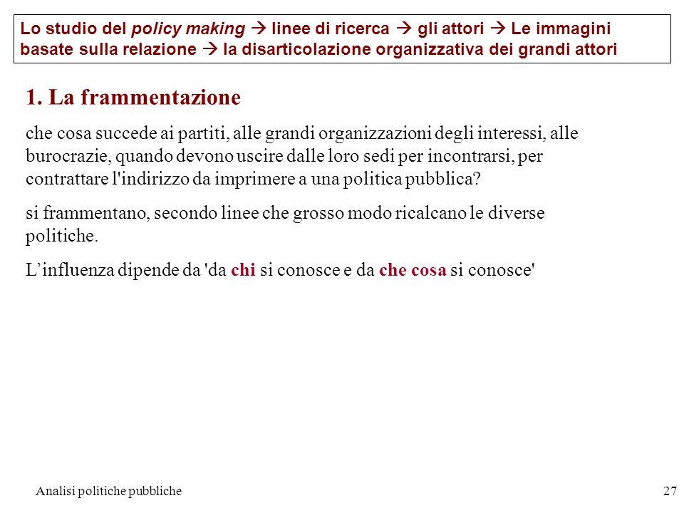 Analisi politiche pubbliche27 Lo studio del policy making linee di ricerca gli attori Le immagini basate sulla relazione la disarticolazione organizza