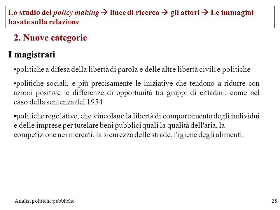 Analisi politiche pubbliche28 Lo studio del policy making linee di ricerca gli attori Le immagini basate sulla relazione 2. Nuove categorie I magistra