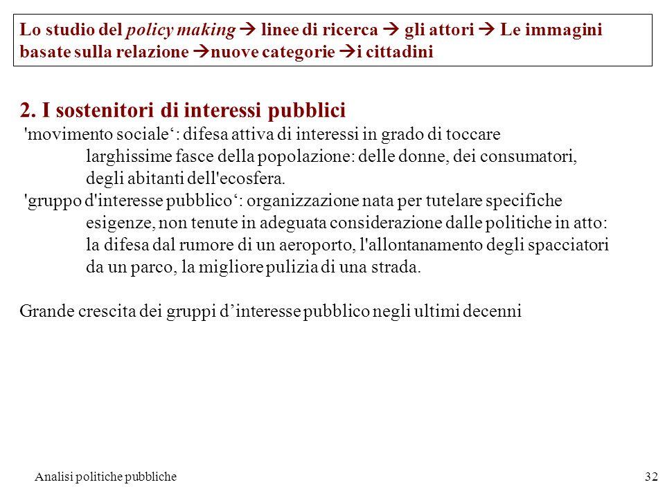 Analisi politiche pubbliche32 Lo studio del policy making linee di ricerca gli attori Le immagini basate sulla relazione nuove categorie i cittadini 2