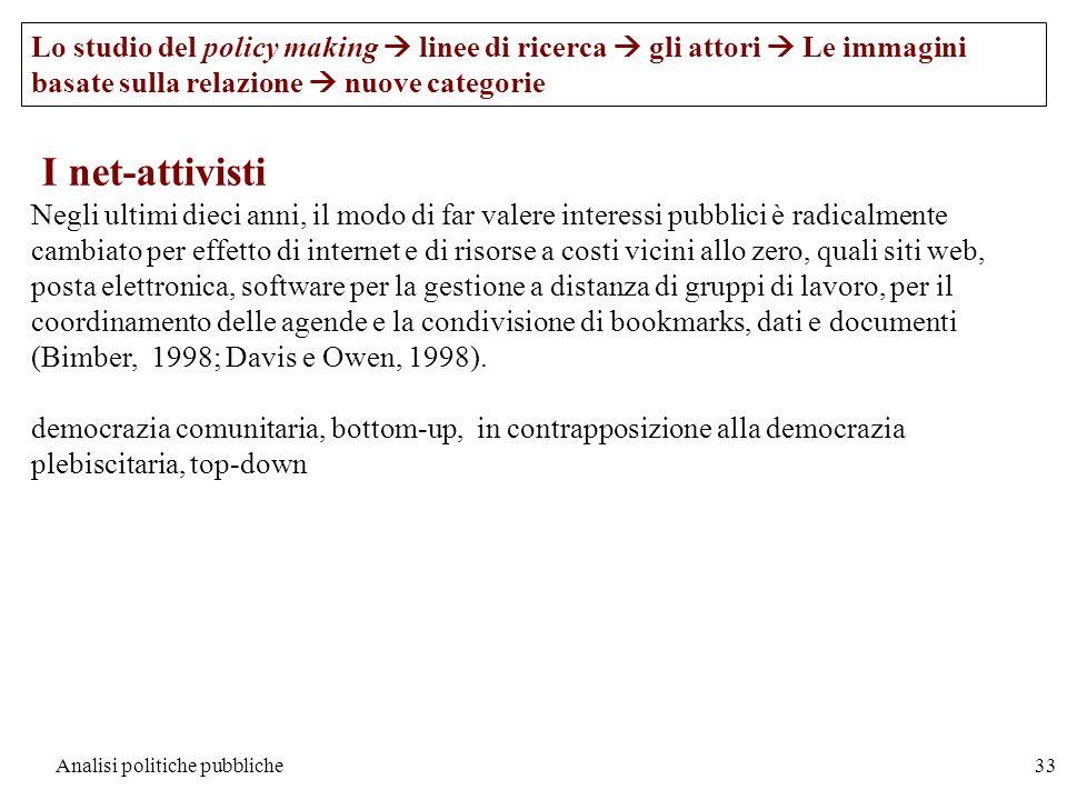 Analisi politiche pubbliche33 Lo studio del policy making linee di ricerca gli attori Le immagini basate sulla relazione nuove categorie I net-attivis