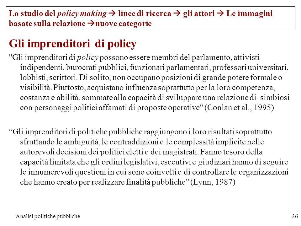 Analisi politiche pubbliche36 Gli imprenditori di policy