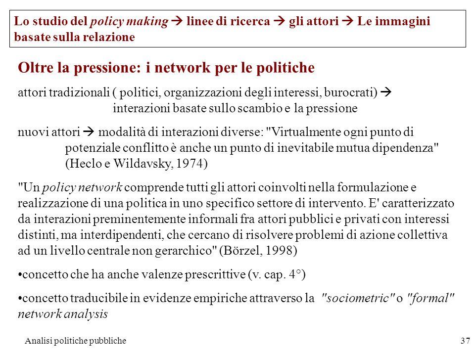 Analisi politiche pubbliche37 Oltre la pressione: i network per le politiche attori tradizionali ( politici, organizzazioni degli interessi, burocrati