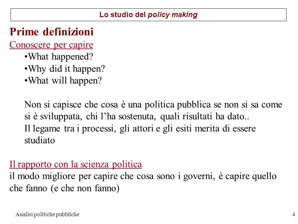 Analisi politiche pubbliche4 Prime definizioni Conoscere per capire What happened? Why did it happen? What will happen? Non si capisce che cosa è una
