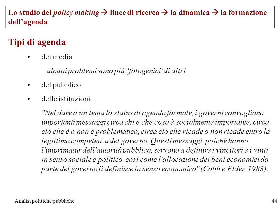 Analisi politiche pubbliche44 Tipi di agenda dei media alcuni problemi sono più fotogenici di altri del pubblico delle istituzioni