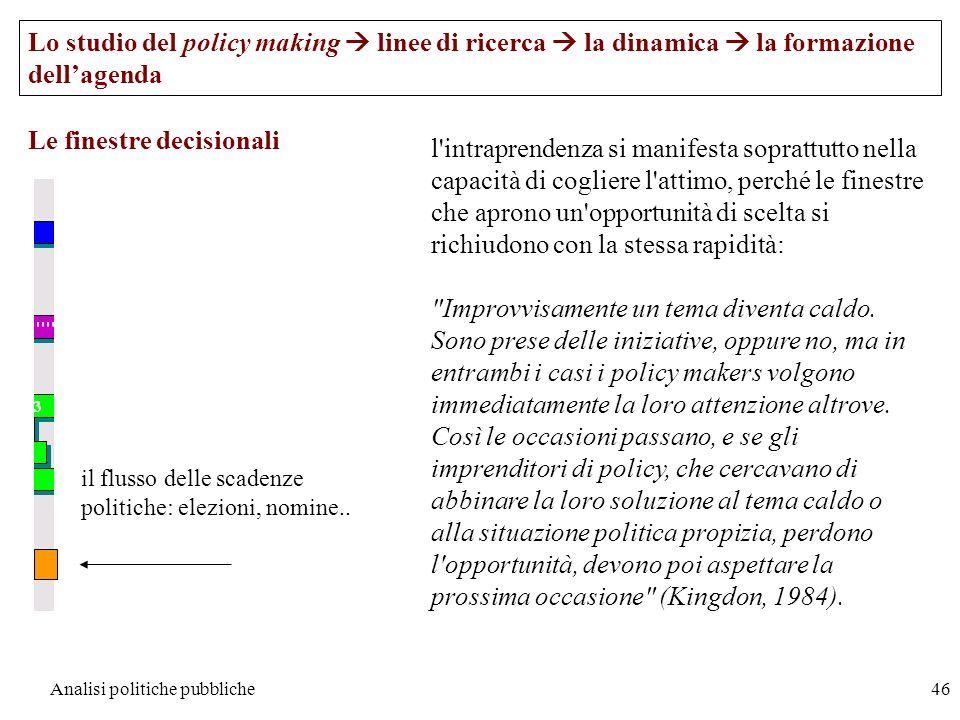 Analisi politiche pubbliche46 Le finestre decisionali Lo studio del policy making linee di ricerca la dinamica la formazione dellagenda il flusso dell