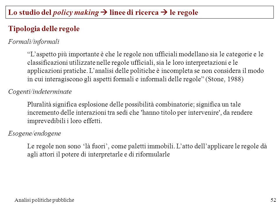 Analisi politiche pubbliche52 Lo studio del policy making linee di ricerca le regole Tipologia delle regole Formali/informali Laspetto più importante