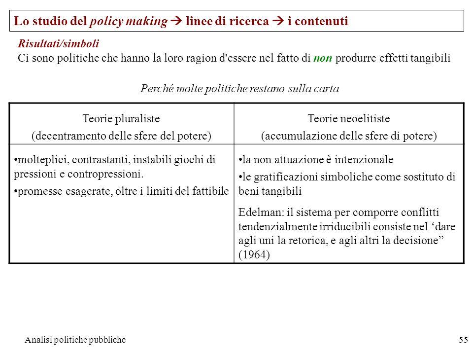 Analisi politiche pubbliche55 Lo studio del policy making linee di ricerca i contenuti Risultati/simboli Ci sono politiche che hanno la loro ragion d'