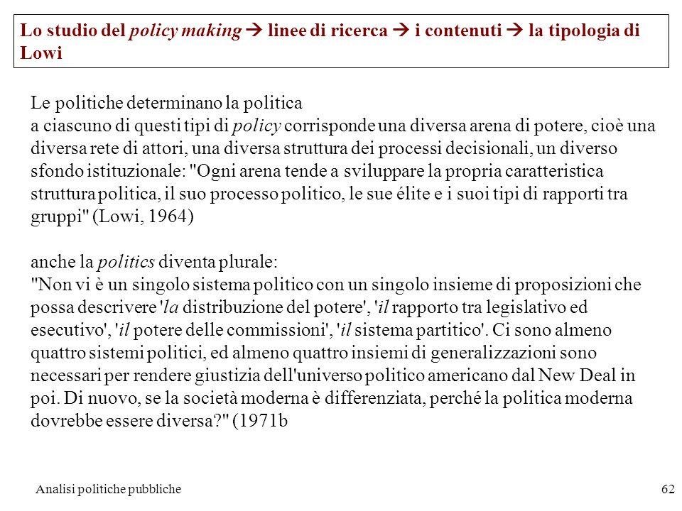 Analisi politiche pubbliche62 Lo studio del policy making linee di ricerca i contenuti la tipologia di Lowi Le politiche determinano la politica a cia