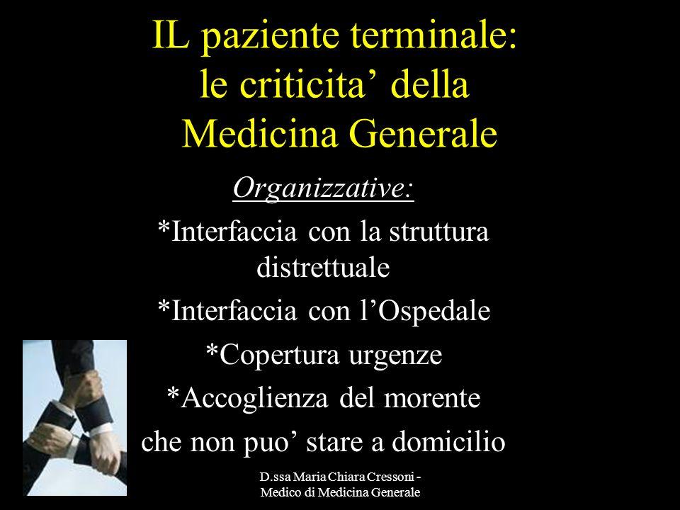 D.ssa Maria Chiara Cressoni - Medico di Medicina Generale IL paziente terminale: le criticita della Medicina Generale Organizzative: *Interfaccia con