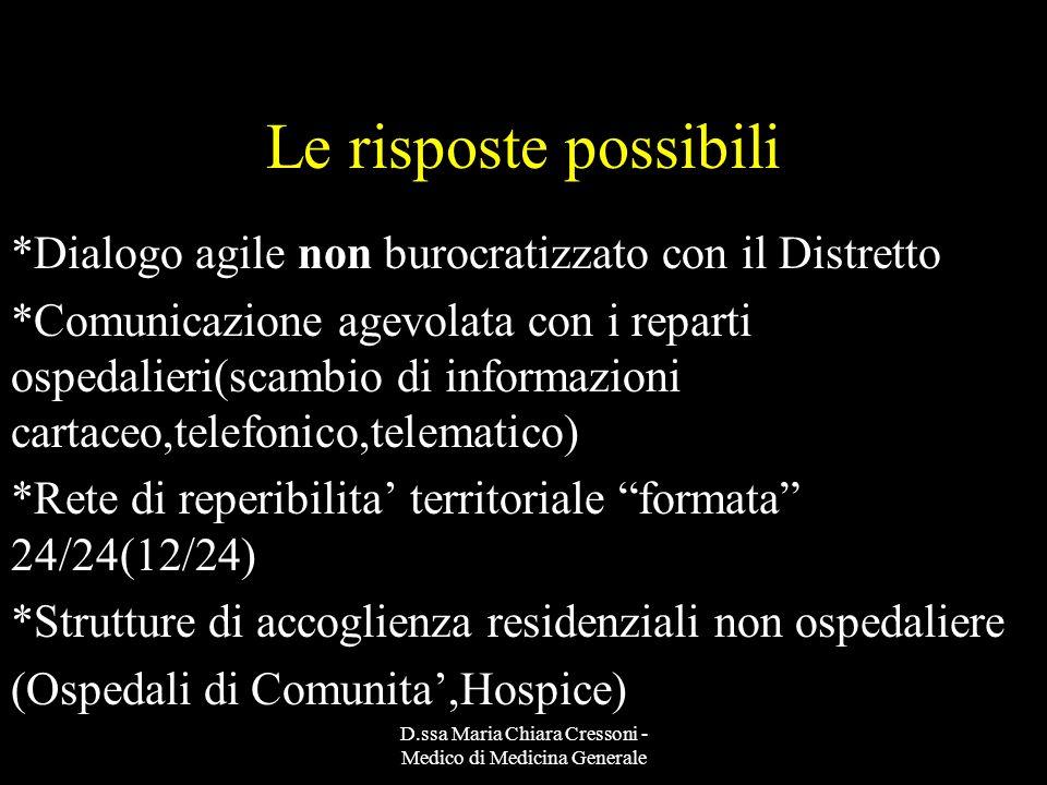D.ssa Maria Chiara Cressoni - Medico di Medicina Generale Le risposte possibili *Dialogo agile non burocratizzato con il Distretto *Comunicazione agev