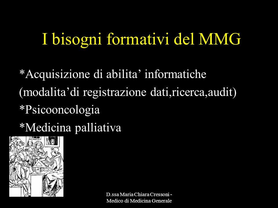 D.ssa Maria Chiara Cressoni - Medico di Medicina Generale I bisogni formativi del MMG *Acquisizione di abilita informatiche (modalitadi registrazione