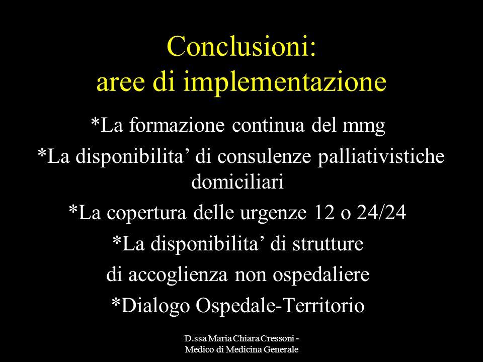 D.ssa Maria Chiara Cressoni - Medico di Medicina Generale Conclusioni: aree di implementazione *La formazione continua del mmg *La disponibilita di co