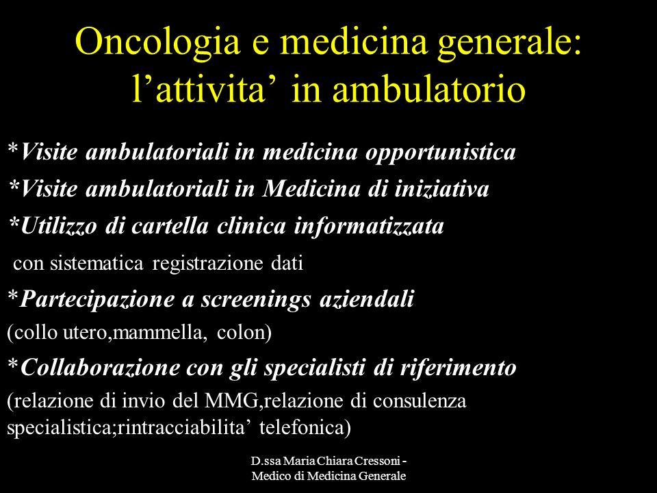 D.ssa Maria Chiara Cressoni - Medico di Medicina Generale Le risposte possibili *Formazione in Terapia del dolore *Formazione in Medicina palliativa *Consulenze domiciliari di Medici palliativisti